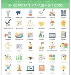 Corporate managment color flat icon set vector