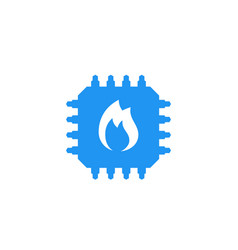 cpu overheat chipset with flame icon vector image