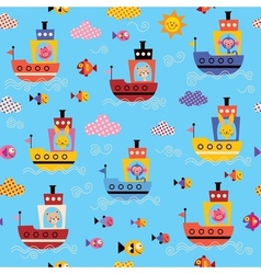 Cute animals in boats kids sea pattern vector