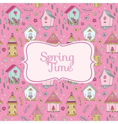 Cute Bird Houses Card - Spring Time vector