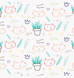 Cute cat doodle pattern background vector