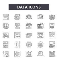 data line icons signs set linear concept vector image