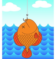 Dead fish and fishing vector