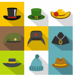 Different headgear icon set flat style vector