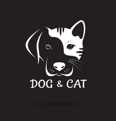 dog and cat face design on a black background pet vector image