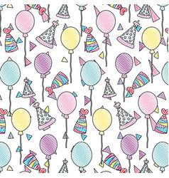 Doodle happy birthday party celebration background vector