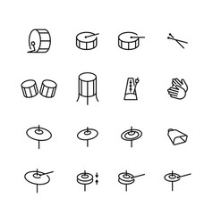 drums icons set elements drum kit or digital vector image