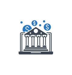 e-banking related glyph icon vector image