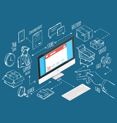Ecommerce business personal computer and icons vector