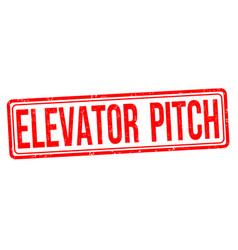 elevator pitch grunge rubber stamp vector image