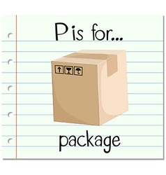 Flashcard letter P is for package vector