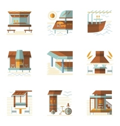 Flat colored icons for cafe and bungalows vector