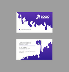 Flat indigo and white business card with gooey vector