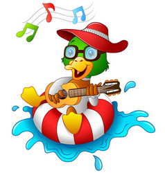 Funny duck cartoon enjoying on the lifebuoy with p vector