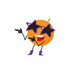 Funny orange fruit character having fun at party vector