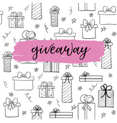 Giveaway card for blogs hand drawn gifts vector