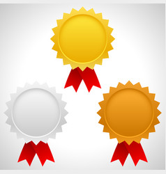 gold silver and bronze badges with red ribbons vector image