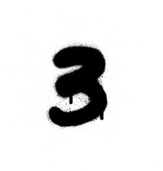 Graffiti sprayed number 3 three in black on white vector