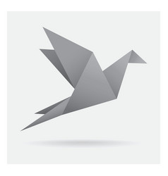 Gray black bird paper craft flying in frame art vector