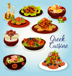 Greek cuisine icon with mediterranean lunch dish vector
