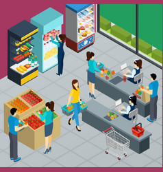 grocery store isometric poster vector image