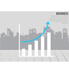 Growth chart with building background vector