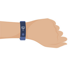 Hand with smart band vector