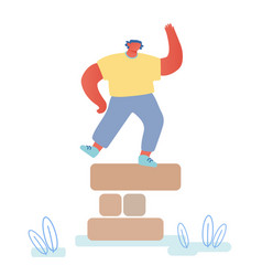 happy man dancing on top tower made wooden vector image