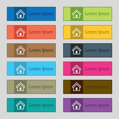 House icon sign Set of twelve rectangular colorful vector