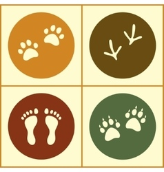 Human and bird feet cat dog paws colored flat vector