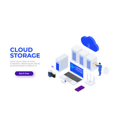 Isometric cloud technologies design concept with vector