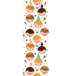 Kids at a birthday party vertical seamless pattern vector image