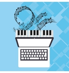 Laptop and music online design vector