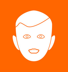 Little boy face white icon vector