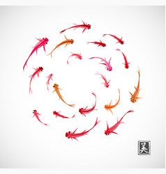 little red and orange fishes hand drawn with ink vector image