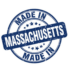 Made in massachusetts blue grunge round stamp vector