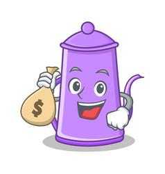 money bag purple teapot character cartoon vector image