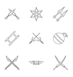 ninja equipment icons set outline style vector image