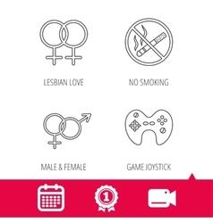 No smoking couple and game joystick vector image