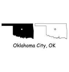 oklahoma city ok state border usa map vector image