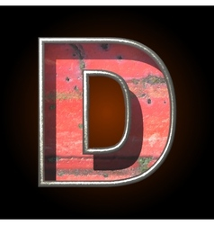 Old metal letter d vector