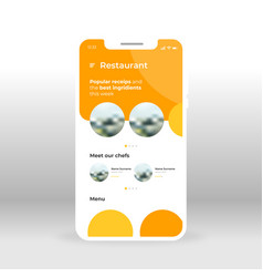 Orange restaurant ui ux gui screen for mobile vector