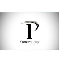 P brush stroke letter logo design black paint vector