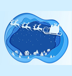 Paper art depth concept of christmas vector