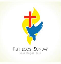 Pentecost sunday dove logo vector