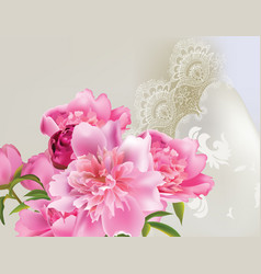 Peony flowers bouquet with delicate lace vector