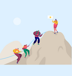 People climb rock mountain to victory flag vector
