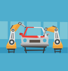 Robotic arm painting car in a production line vector