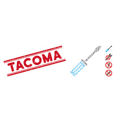 Scratched tacoma line seal with mosaic screwdriver vector
