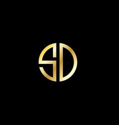 Sd logo gold initials logo vector